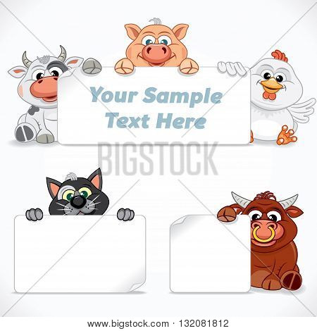 Cute Farm and Domestic Animals with Empty Sign. Cartoon Farm Animals. Ready for Your Text and Design.