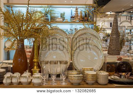 BANGKOK THAILAND - JANUARY 7 2016 : Section of ceramic tableware in supermarket Siam Paragon. Siam Paragon is a one of the biggest shopping centres in Asia.
