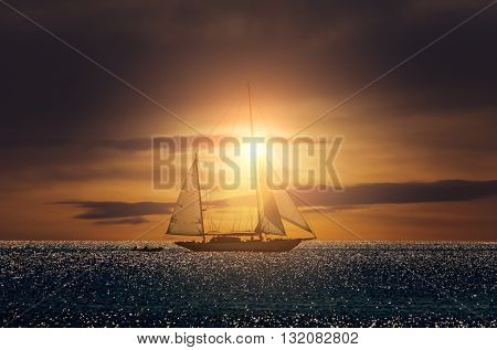 Yacht sailing in Mediterranean during sunset