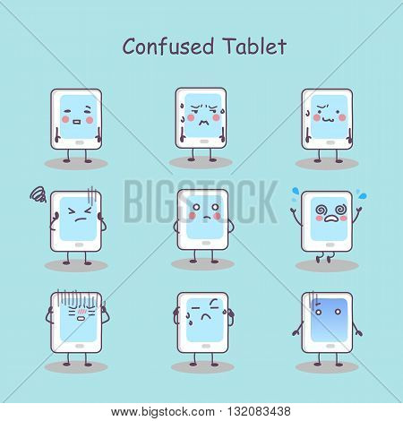 Confused cartoon digital tablet pc set great for your design