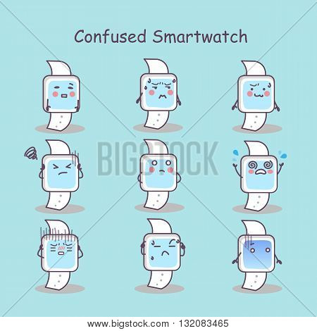 Confused cartoon smart watch set great for your design