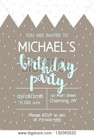Vector Cute Kids Birthday Party Invitation With Lettering For Boy. Background With Crown And Brush S