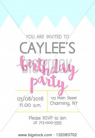 Vector Cute Kids Birthday Party Invitation With Lettering For Girl