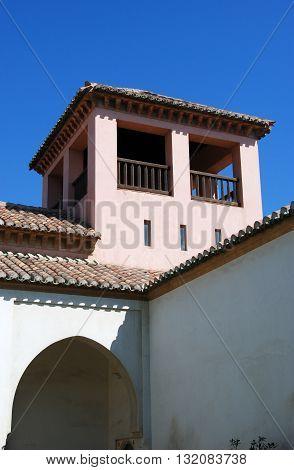 MALAGA, SPAIN - JULY 11, 2008 - Patio de la Alberca inside Nasrid Palace Malaga castle (Alcazaba de Malaga) Malaga Malaga Province Andalucia Spain Western Europe, July 11, 2008.