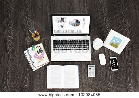 Business workplace with items