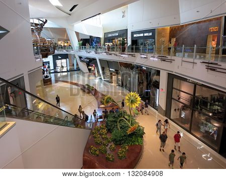 LAS VEGAS - JUNE 29: Inside The Shops at Crystals on June 29 2015 in Las Vegas. Anchored by 10 flagship stores including Louis Vuitton Gucci Dolce & Gabbana Tom Ford Prada Fendi and Tiffany & Company Crystals in an amazing collection of 50 of the finest l
