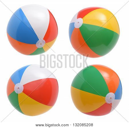 Beach balls collection isolated on white background