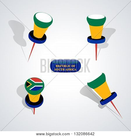 Set of pushpin in the national colors of Republic of South Africa vector illustration.