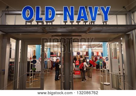 HONOLULU HI - NOVEMBER 27: Entrance to Old Navy Store featuring big sales on Grey Thursday at the Ala Moana shopping center. taken on November 27 2014 at Ala Moana Shopping center in Honolulu Hawaii.