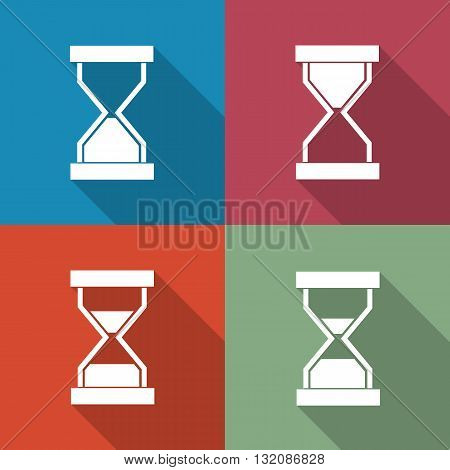 A set of four colored icons sandglass with a long diagonal shadow vector illustration.
