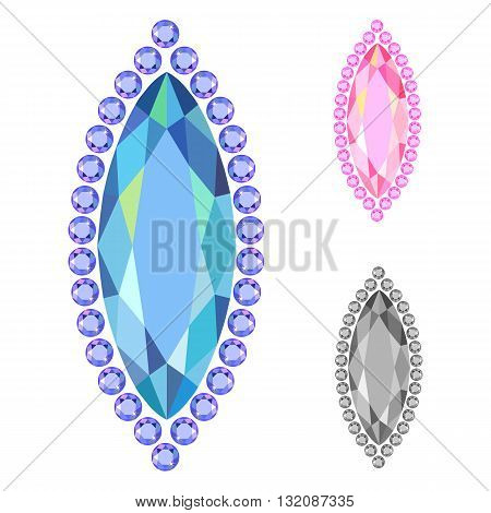 Low poly colored vertical template rim boat gem cut icons isolated on white background vector illustration