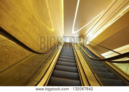 The office building interior escalators and stairs