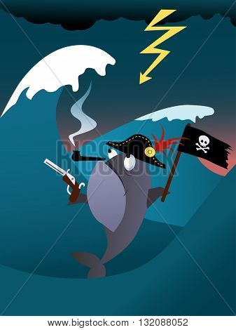 Fish pirate in a hurricane sea, vector illustration