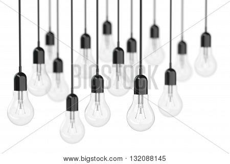 Ideas Concept. Many Light Bulbs on a white background. 3d Rendering