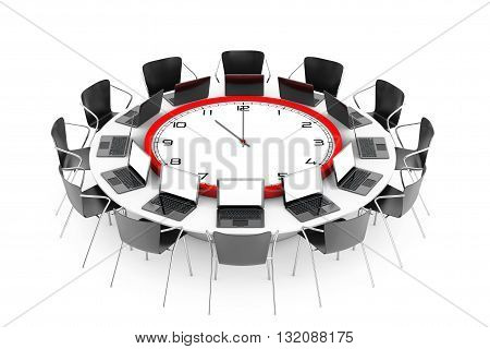 Chairs around a Table with Clock in the middle on a white background. 3d Rendering