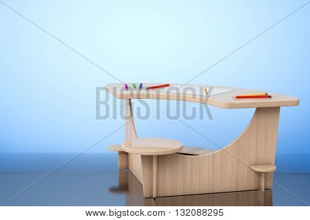 Wooden Study Kid Desk with Pencils and Picture Paper on the floor. 3d rendering
