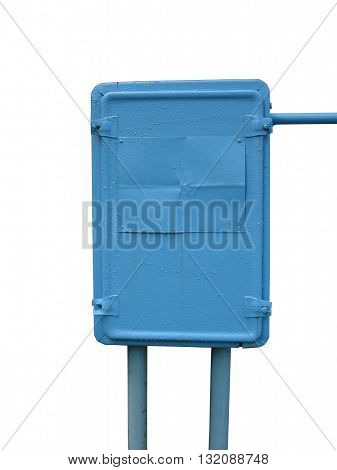 Municipal electrical metal blue enclosure on a white background.