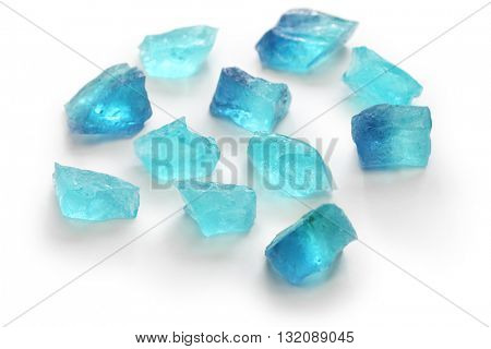 Japanese traditional confectionery, Kohakutou, dried sweetened agar jelly, mint blue