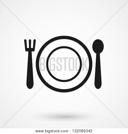 Cutlery Icon Vector Black On White Background