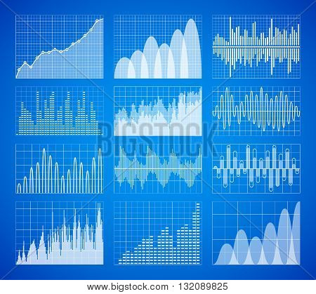 Statistic, business data graphs, charts vector set. Information infographic elements. Business statistic set and chart data infographic. Information web statistic collection illustration