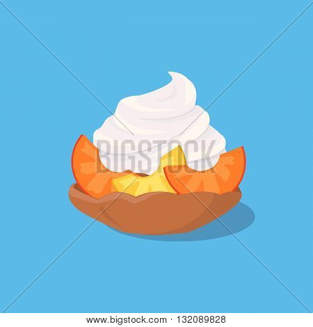 Part of cake with peach design. Birthday or wedding cake slice, chocolate dessert cookies, peach and chocolate, food sweet pie with, cream and fruit vector illustration