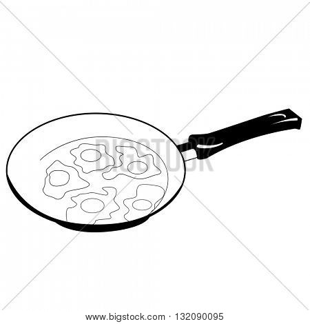 black and white fried eggs on frying pan cartoon