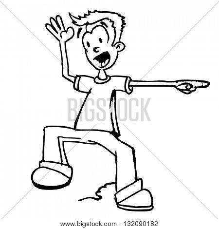 black and white hand drawn boy shouting cartoon