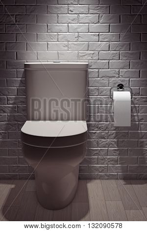 White Ceramic Toilet Bowl in front of Brick Wall. 3d Rendering