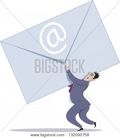 E-mail overload. Businessman carrying a giant envelope, vector cartoon