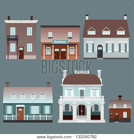 Set of small traditional European buildings vector illustrations