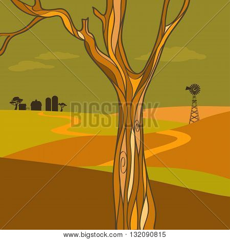 Graphic country landscape in autumn, EPS8 vector illustration