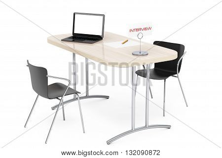 Wooden Table and Chairs for Interview on a white background. 3d Rendering