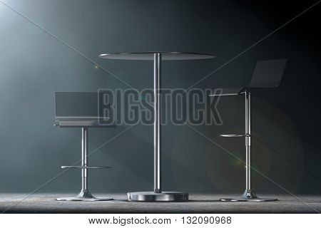Black Bar Vintage Stools with Table in the volumetric light on a black background. 3d Rendering