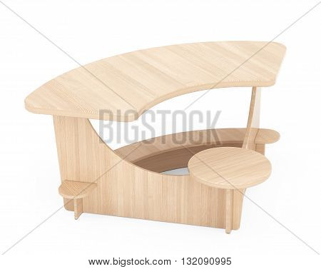 Wooden Study Kid Desk on a white background. 3d Rendering