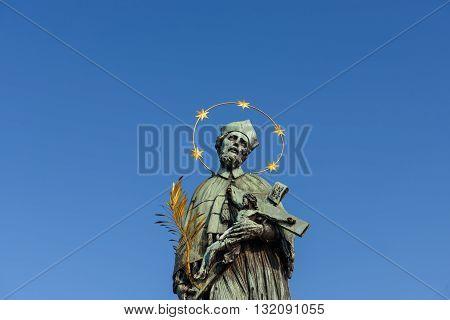 Sculptures in Prague on the Charles Bridge