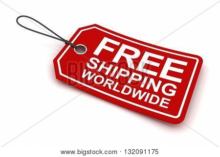 Free shipping worldwide tag, 3d render, white background