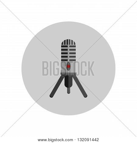 Microphone design flat isolated icon, vintage microphone stand, sound media, record vocal musical web broadcasting microphone vector illustration