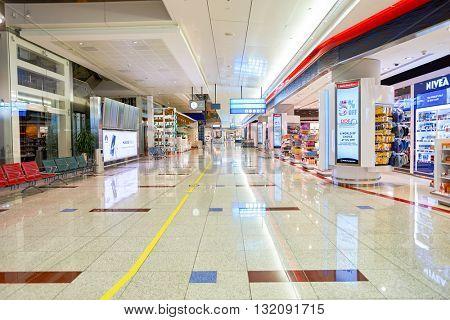DUBAI, UAE - CIRCA APRIL, 2016: inside of Dubai International Airport. Dubai International Airport is the primary airport serving Dubai, United Arab Emirates