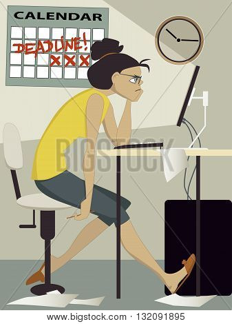 Frustrated woman working on her computer at home, a calendar with the world deadline on the wall behind her,vector illustration