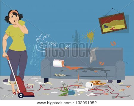Shocked woman with vacuum cleaner standing in a dirty messy room with signs of pets and children activities, vector illustration