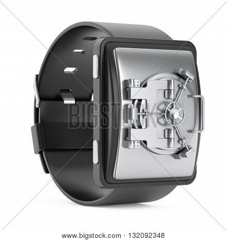 Security Concept. Smartwatch with Bank Vault Door on a white background. 3d Rendering