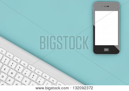 Office Table with Computer Keyboard and Mobile Phone view from above. 3d Rendering