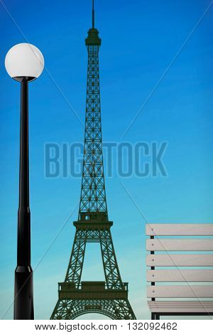 Romantic Concept. Eiffel Tower Bench and Street Lamp extreme closeup. 3d Rendering