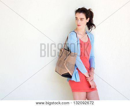 Young Fashionable Lady Glancing Behind