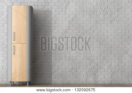 Modern Wooden Kitchen Cabinet in front of Brick Wall. 3d Rendering