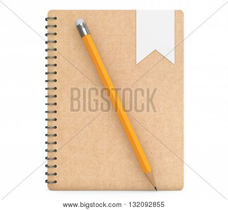 Personal Diary or Organiser Book with Pencil on a white background. 3d Rendering