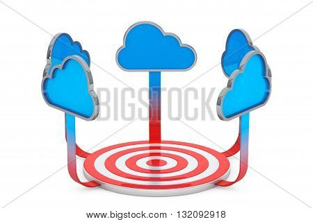 Blue Clouds conected to the Target Point on a white background. 3d Rendering