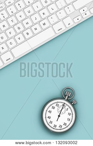 Time Concept. Keyboard with Stopwatch over Turquoise board. 3d Rendering
