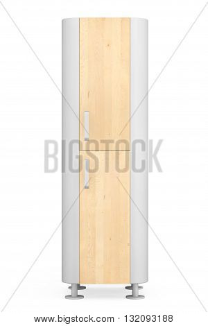 Modern Wooden Kitchen Cabinet on a white background. 3d Rendering