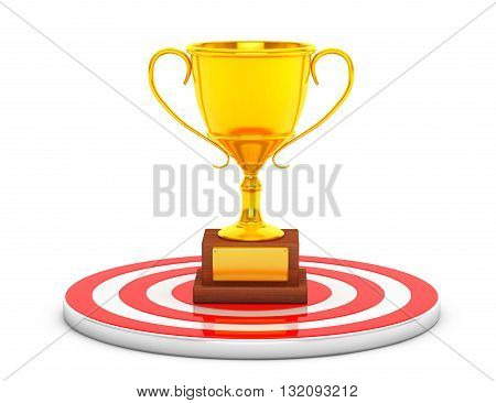 Golden Cup Trophy over Target Center on a white background. 3d Rendering